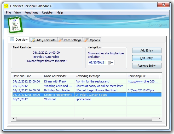 Screenshot for 1-abc.net Personal Calendar 5.00