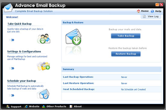 Click to view Advanced Email Backup 1.00 screenshot