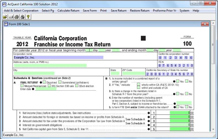 Click to view AcQuest California 100 Solution 2012 1.00 screenshot