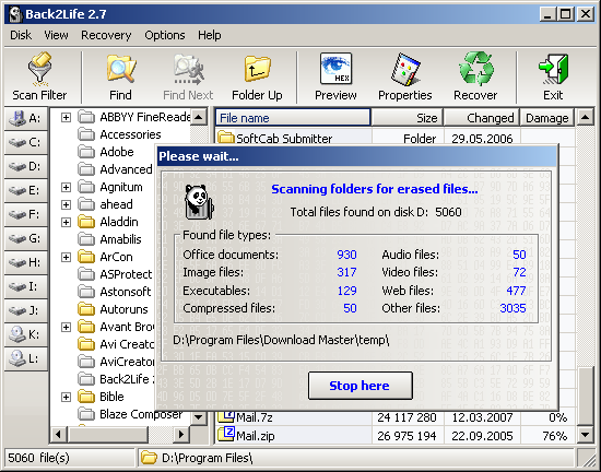 Click to view Back2Life 2.9 screenshot
