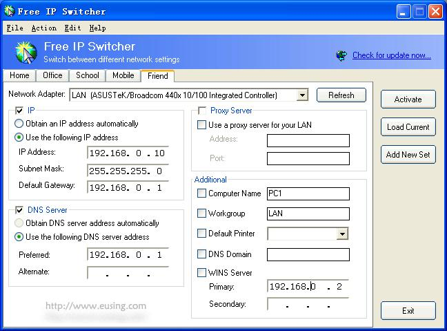 Click to view Free IP Switcher 2.5 screenshot