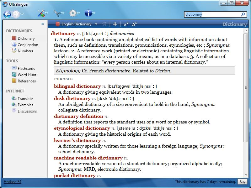 Click to view Italian-English Dictionary by Ultralingua for Wind 7.1 screenshot