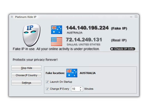 Click to view Platinum Hide IP 3.3.8.6 screenshot