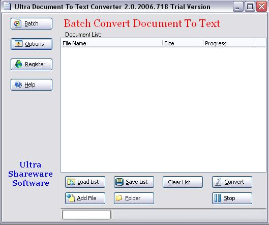 Click to view Ultra Document To Text Converter 2.0.2013.612 screenshot