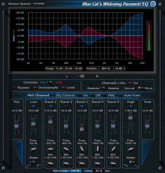 Click to view Blue Cat's Widening Parametr'EQ 3.52 screenshot