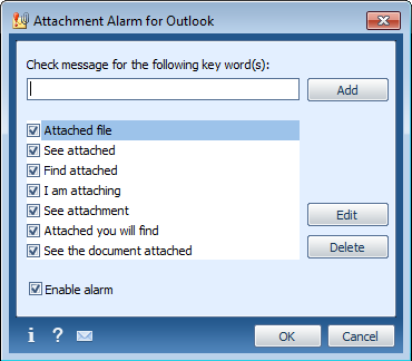 Click to view Attachment Alarm for Microsoft Outlook 2.5.0 screenshot