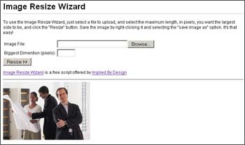 Click to view Image Resize Wizard 1.5 screenshot