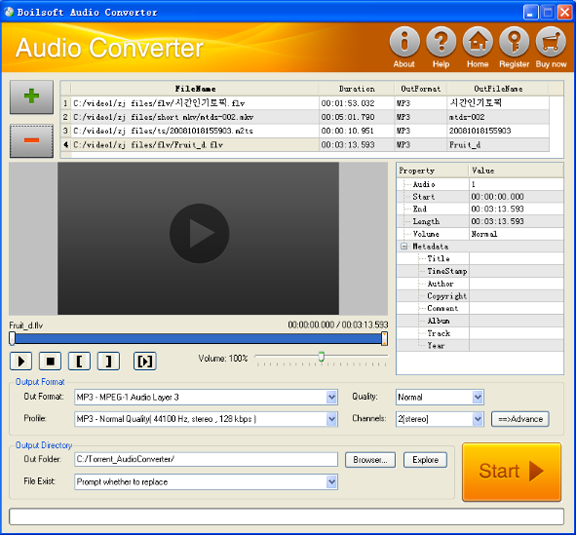 Click to view Boilsoft Audio Converter 1.31.9 screenshot