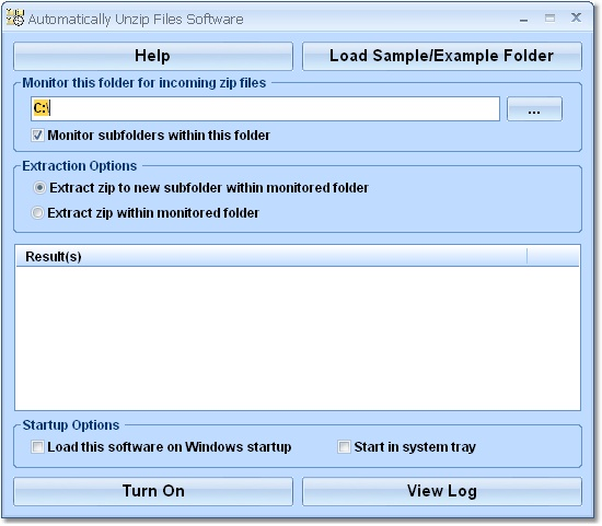 Click to view Automatically Unzip Files Software 7.0 screenshot