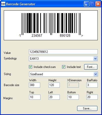 Click to view Barcode Generator 1.0 screenshot
