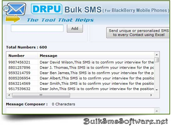 Click to view BlackBerry SMS Software 6.0.1.4 screenshot