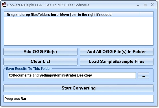 Click to view Convert Multiple OGG Files To MP3 Files Software 7.0 screenshot