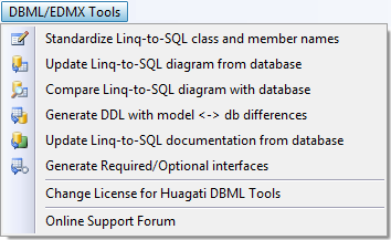Click to view Huagati DBML/EDMX Tools 2.32 screenshot