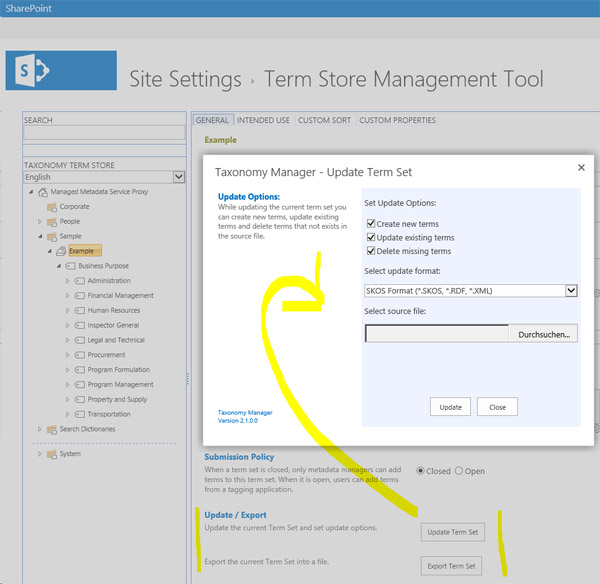 Click to view SharePoint Taxonomy Manager 2.6 screenshot