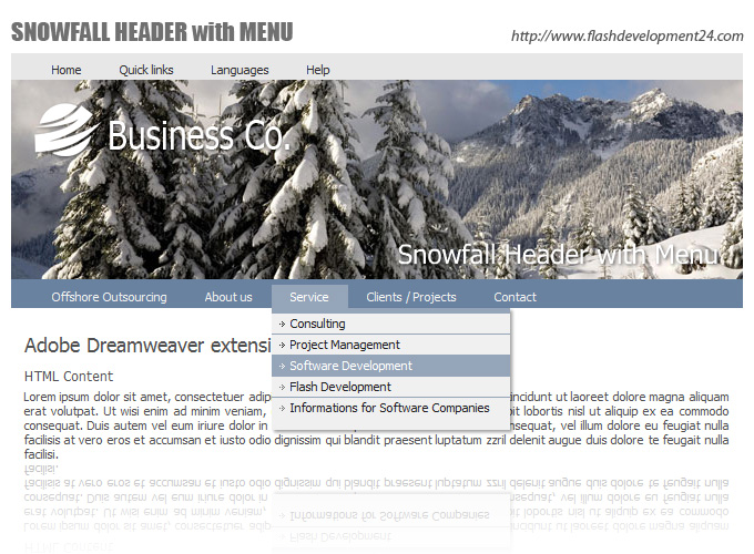 Click to view Snowfall Header with Menu DW Extension 2.0.3 screenshot