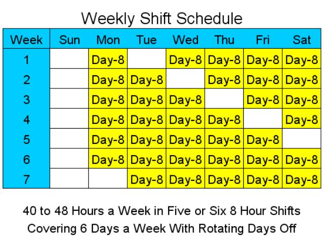 Click to view 8 Hour Shift Schedules for 6 Days a Week 2 screenshot