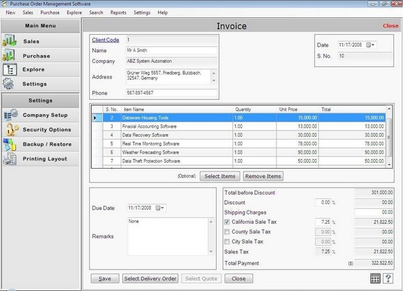 Click to view PO Management Software 2.0.1.5 screenshot