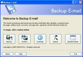Click to view Backup E-mail 1.0 screenshot