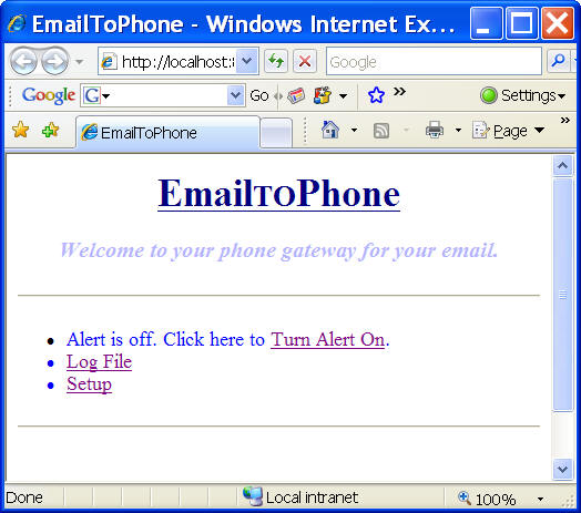 Click to view EmailToPhone 2.0 screenshot