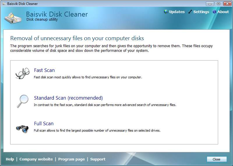 Click to view Baisvik Disk Cleaner 2.1.1.10 screenshot