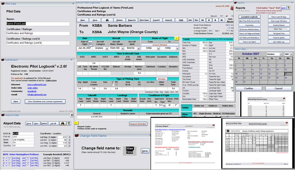 Click to view Electronic Pilot Logbook 2007 2.6 screenshot