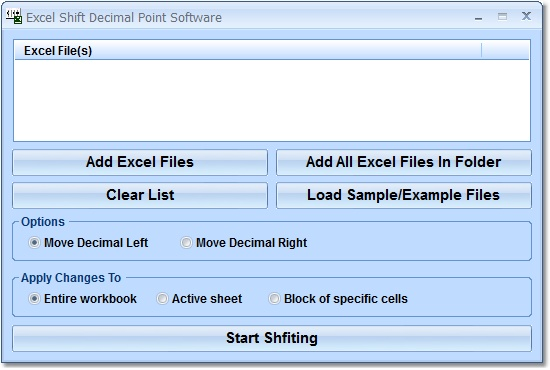 Click to view Excel Shift Decimal Point Software 7.0 screenshot