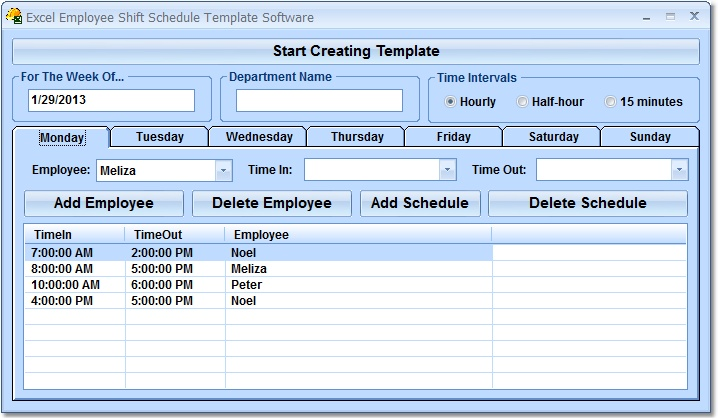 Click to view Excel Employee Shift Schedule Template Software 7.0 screenshot