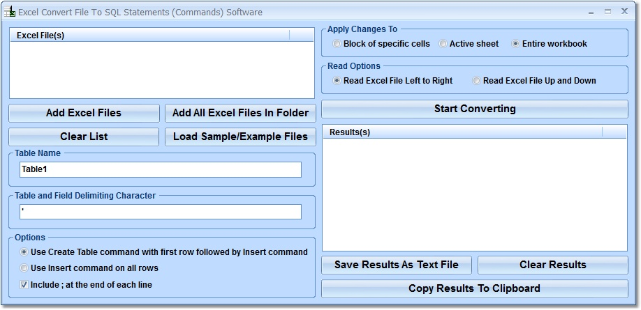 Click to view Excel Convert File To SQL Statements (Commands) So 7.0 screenshot