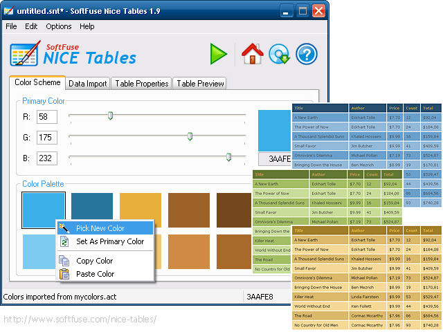 Click to view SoftFuse Nice Tables 1.9.6 screenshot