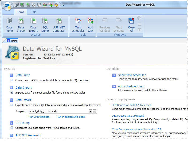 Click to view Data Wizard for MySQL 13.12 screenshot