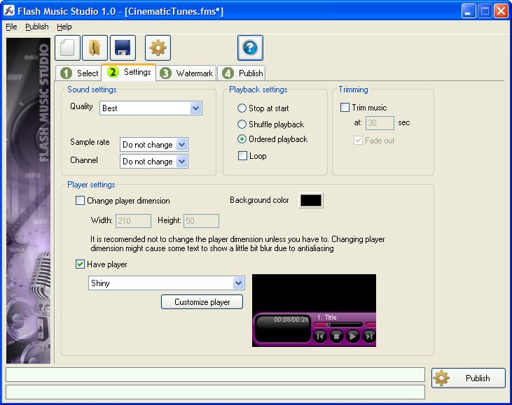 Click to view Flash Music Studio 1.25 screenshot
