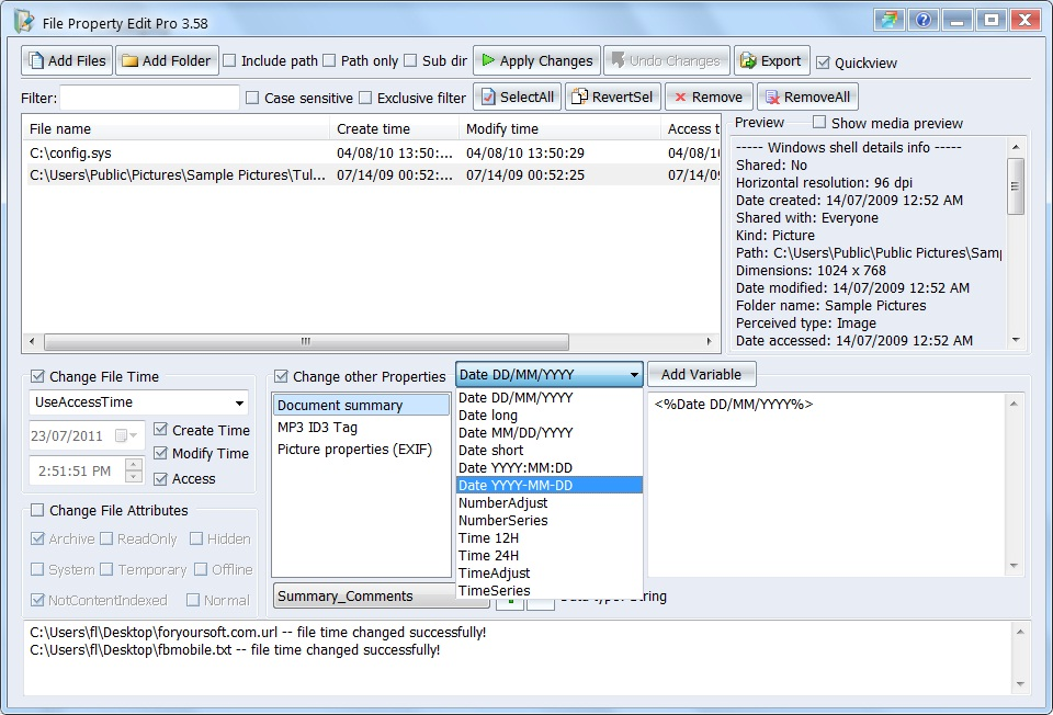 Click to view File Property Edit Pro 3.75 screenshot