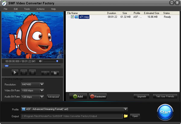 Click to view Free SWF Video Converter Factory 2.0 screenshot