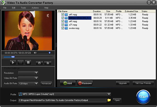 Click to view Free Video to Audio Converter Factory 2.0 screenshot