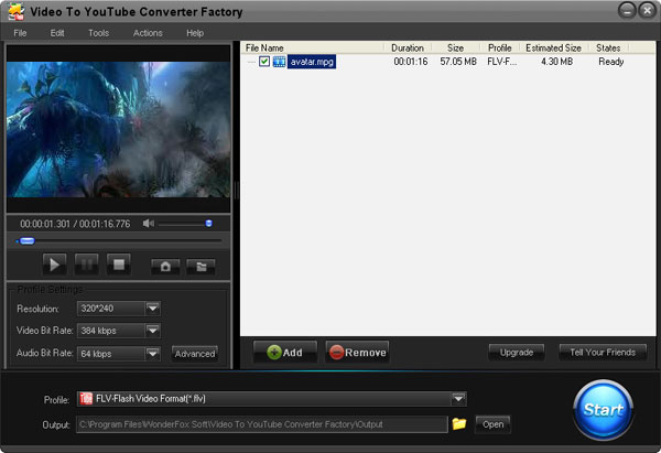 Click to view Free Video to YouTube Converter Factory 2.0 screenshot