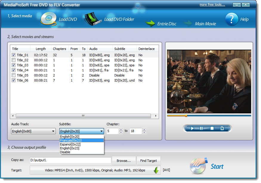 Click to view MediaProSoft Free DVD to FLV Converter 7.9.8 screenshot