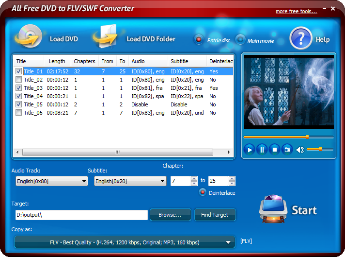 Click to view All Free DVD to FLV/SWF Converter 6.0.2 screenshot