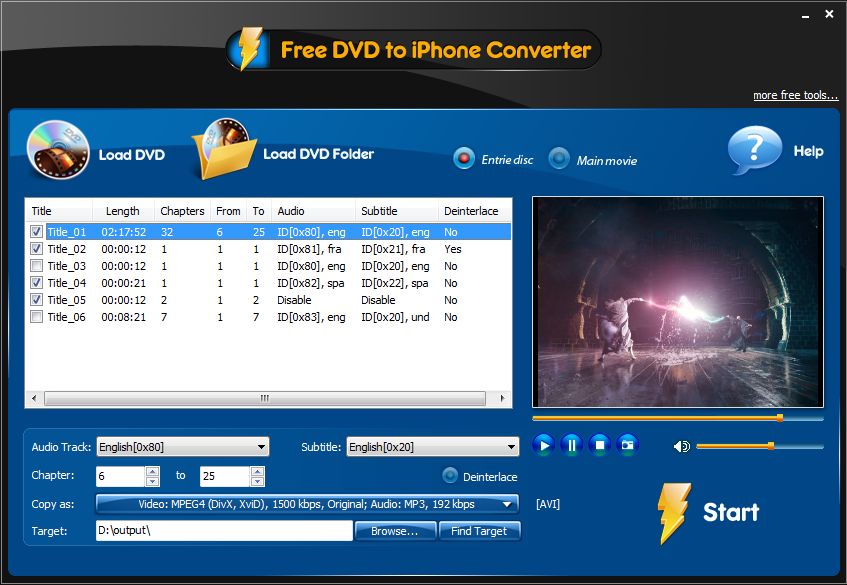 Click to view Free DVD to iPhone Converter 3.3.1 screenshot