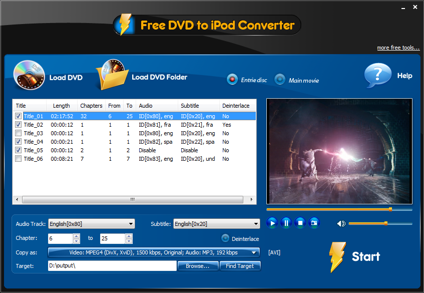 Click to view Free DVD to iPod Converter 3.2.1 screenshot