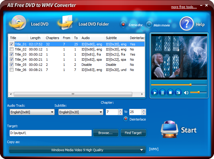 Click to view All Free DVD to WMV Converter 6.0.2 screenshot