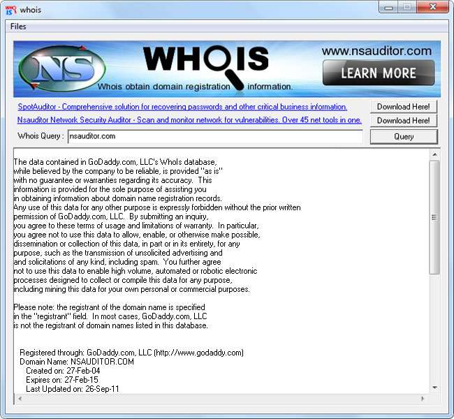 Click to view Whois 3.1.2 screenshot