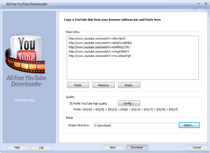 Click to view All Free YouTube Downloader 5.2.7 screenshot