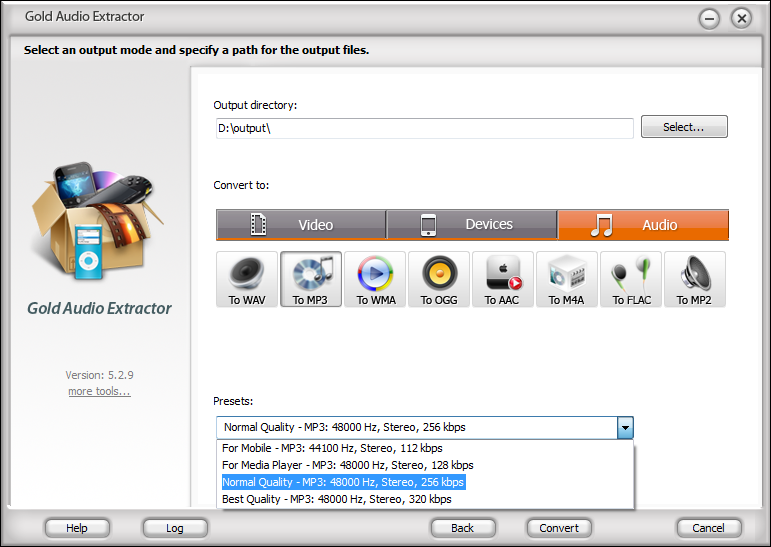 Click to view Gold Audio Extractor 6.9.7 screenshot