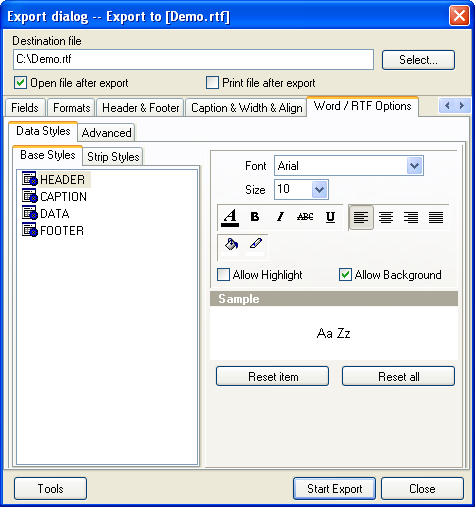 Click to view Advanced Data Export VCL 4.2 screenshot