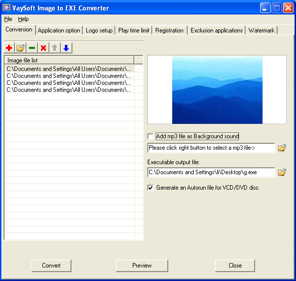 Click to view VaySoft Image to EXE Converter 4.52 screenshot