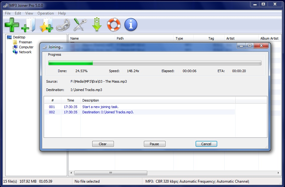 Click to view MP3 Joiner 5.5.1 screenshot