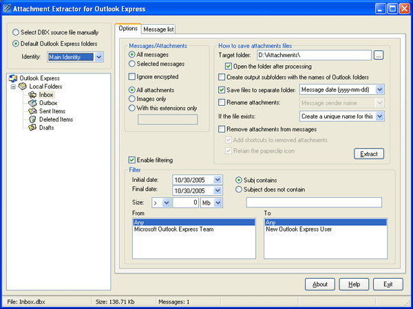Click to view Attachment Extractor for Outlook Express 1.5.2 screenshot