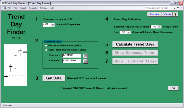 Click to view Trend Day Finder 1.04 screenshot