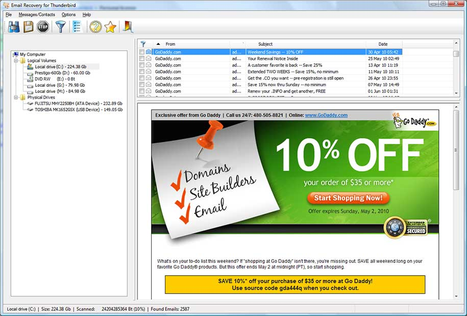 Click to view Email Recovery for Mozilla Thunderbird 1.2.0 screenshot