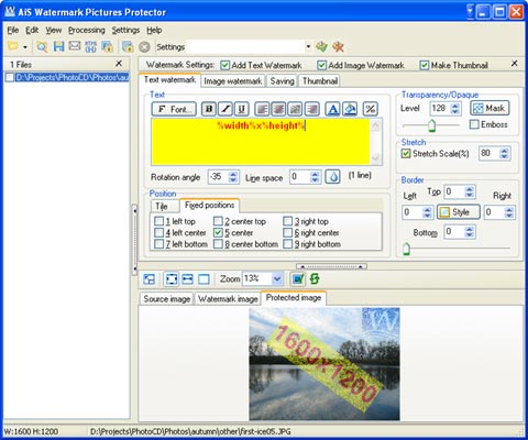 Click to view AiS Watermark Pictures Protector 3.7.0 screenshot